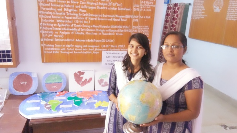 M.Sc. students explaining hypothesis of continental drift in the science exhibition